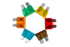 Car blade type fuses Stock Images