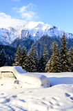 Car blockaded in snow. Y mountains Stock Images