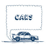 Car blowing exhaust speech bubble. Hand drawn vector isolated on white Stock Photo
