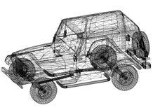 Car blueprint – 3D perspective Stock Image