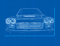 Car Blueprint. A vintage car blueprint 3D illustration Stock Photography