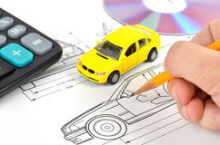 Car blueprint Royalty Free Stock Image