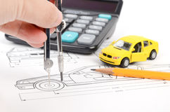 Car blueprint Royalty Free Stock Photos