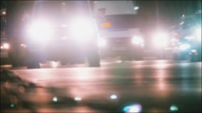 Car blurred night motion traffic city traffic light trails on the street time lapse. urban city concept lifestyle life. Car blurred night motion traffic city stock footage