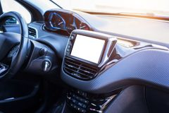 Car board display with isolated space for mockup, app presentation. Modern car interior Royalty Free Stock Photos