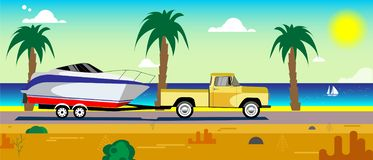 Car with a boat on a trailer. Running along the sea coast vector illustration