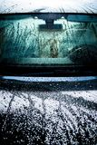 Car Body Covered by Water. Waxed Car Body Covered by Water. Car Hood and Windshield After Washing Royalty Free Stock Photography