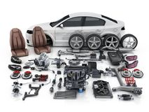 Car body disassembled and many vehicles parts. 3d illustration royalty free illustration
