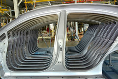Car body sidewalls in welding shop of the automobile enterprise Stock Image