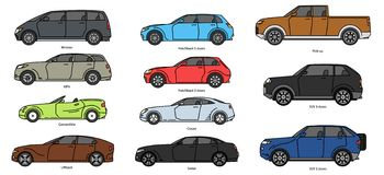 Free Car Body Style. Outline Public Transport And Passenger Coupe. Outline Pickup, Doodle Sedan, Color Hatchback And Royalty Free Stock Images - 155847069