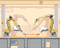 Car body welding. Automated assembly and welding the car body in the modern production with the help of a robotic manipulator arm on the assembly line. Vector Stock Images