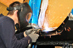 Car body welding. Stock Photo
