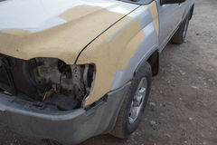 Car body work after the accident. Auto body repair series - preparing before painting stock image
