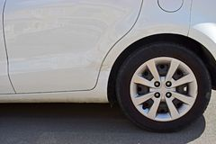 Car Bodywork Damage Near The Wheel stock photo