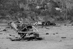 Car bomb in black and white Royalty Free Stock Photo