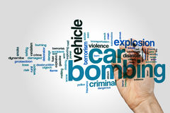 Car bombing word cloud on grey background Royalty Free Stock Images