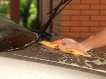Car bonnet cleaning Royalty Free Stock Image