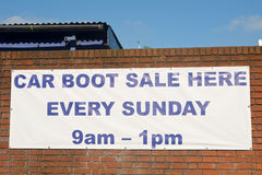 Car Boot Sale sign Royalty Free Stock Photography