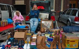 Car boot sale in a small Dutch village. Car boot sale in the small Dutch village of Den Hout, North Brabant. Car boot sale in a village in the Netherlands on Stock Photography