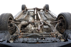 Car bottom. Turned upside-down after road collision Stock Photo
