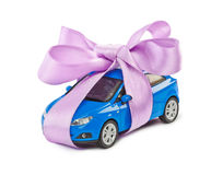 Car with bow as gift Royalty Free Stock Image