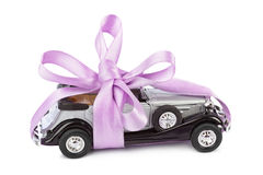 Car with bow as gift Stock Photos