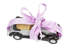 Car with bow as gift Royalty Free Stock Photography