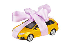 Car with bow as gift Stock Image