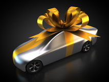 Car with a bow. 3D rendering: car with a bow as a gift Royalty Free Stock Photography