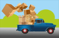 Car and box courier royalty free illustration