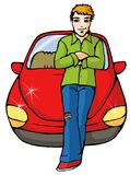 Car Boy. Red new car with teenage Royalty Free Stock Image