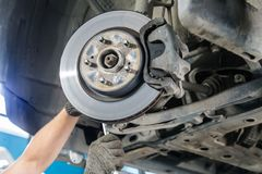 Car brake disc. Without wheels closeup Royalty Free Stock Images