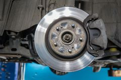Car brake disc. Without wheels closeup Royalty Free Stock Photos