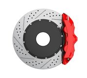 Car Brake Disc and Red Caliper Isolated Stock Image