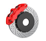Car Brake Disc and Red Caliper Isolated Stock Photos