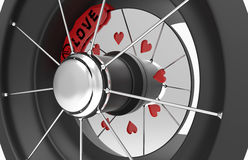 Car brake discs with hearts Stock Photos