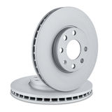 Car brake discs. Pair of car brake discs on white background Royalty Free Stock Photography