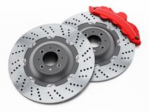 Car brake discs and red calipers isolated on white background. 3D illustration.  Royalty Free Stock Photos
