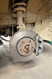 Car brake on the metallic disk Royalty Free Stock Photos