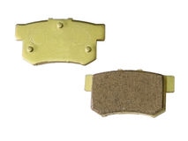 Car brake pad. Front and rear view of racing car brake pad, isolated on white background Stock Photography
