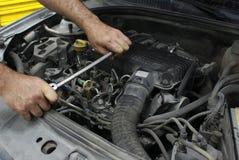 Car Brake Rotor. In automobile repair shop Stock Image