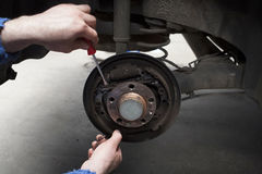 Car brake shoes replacement Royalty Free Stock Photos