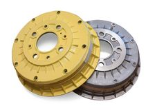 Car brake wheel. Isolated on white with clipping path Royalty Free Stock Image