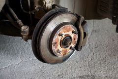 Car Break Detail. Used Car Break detail with tire removed stock photography