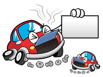 Car break downs Car Character holding a business card.  Vector C Stock Photo