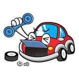 Car break downs Car Character holding a telephone. Vector Car Ma Stock Images