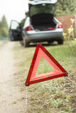 Car breakdown Broken down car. Broken down car. A broken car on the side. Warning triangle Royalty Free Stock Images