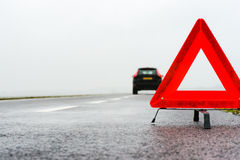 Car with a breakdown in the rain and fog. Car with a breakdown on a rainy autumn day in the middle of nowhere stock photos