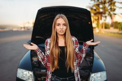 Free Car Breakdown, Sad Female Driver Against Open Hood Royalty Free Stock Photography - 121971927