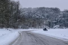 Car Breakdown in Snowy Road / Landscape in French Countryside during Winter stock image